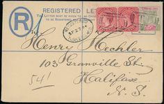 Turks and Caicos Islands: 1894 (Sept. 27) formula registered envelope size G to Halifax, Nova Scotia, bearing 1889-93 1d. pair and 1893-95 5d., tied by ''T 1'' in barred ovals, fine.