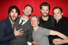 Darren Criss, Neil Patrick Harris, John Cameron Mitchell, Andrew Rannells and Michael C. Hall (every 'Hedwig' of this revival) celebrate Lena Hall's last performance at 'Hedwig and The Angry Inch' on Broadway. April 4, 2015.