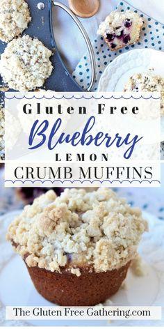 Blueberry Lemon Crumb Muffins {Gluten Free} - The Gluten Free Gathering - An ama. Blueberry Lemon Crumb Muffins {Gluten Free} - The Gluten Free Gathering - An amazing muffin filled with plump bluebe Muffins Sans Gluten, Gluten Free Blueberry Muffins, Dessert Sans Gluten, Bon Dessert, Gluten Free Sweets, Gluten Free Cakes, Gluten Free Diet, Foods With Gluten, Blue Berry Muffins