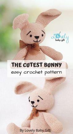 Easy Crochet Pattern to make Plush Bunny Amigurumi Toy. #amigurumi #lovelybabygift #crochetanimal Crochet Bunny Pattern, Crochet Toys Patterns, Amigurumi Patterns, Knitting Patterns, Crochet For Kids, Diy Crochet, Afghan Crochet, Crochet Gifts, Bunny Toys