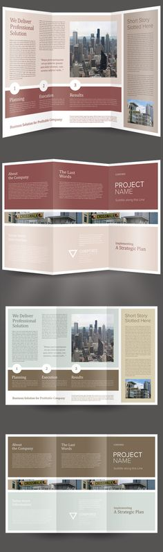 A trifold brochure template, print-ready