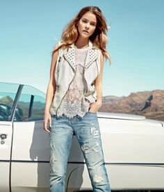 twin set jeans spring 20146 Barbara Palvin is a Denim Babe in Twin Set Jeans Spring 2014 Ads