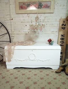 Painted Cottage Chic Shabby White Hope Chest Vf239