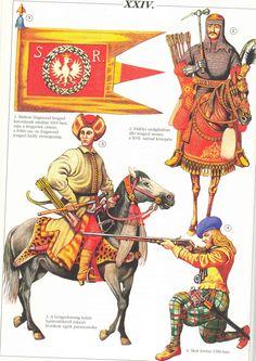 Armia siedmiogrodzka 17w: 1 - chorągiew polska z czasów Zygmunta Batorego 2 - pancerny, poł. XVII 3 - kozak, połowa wieku 4 - szkot, początek wojny XV-letniej