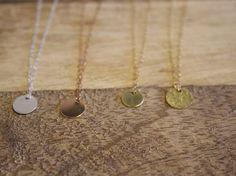 Delicate Disc Necklace, 14K Rose Gold Filled, 14K Gold Filled, Stirling Silver, Copper