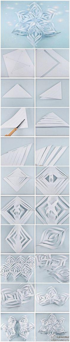 Origami flocos de neve de papel
