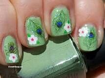 Green peacock nails