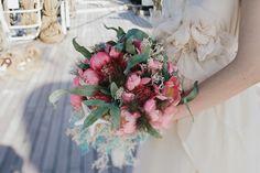 pink wedding bouquet - photo by IglooPhoto http://ruffledblog.com/wedding-inspiration-on-an-italian-sailing-ship