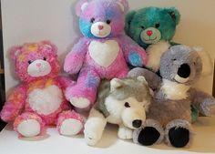 Build a Bear Lot 5 Bear Barking Husky Dog Koala Pink Blue Aqua Plush Toy Gray  #BuildaBear #AllOccasion
