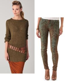 Rich and Skinny Legacy Snake Print Jeans and Donna Karan Luxe Long Sleeve Slouchy Sweater