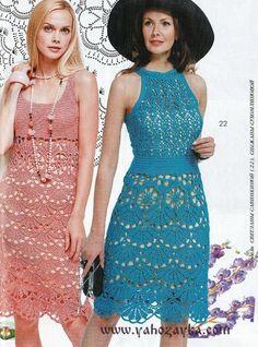 Платья с ажурными мотивами описание. Женское платье крючком для начинающих   Я Хозяйка