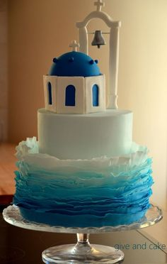 Birthday Cakes. blue ombre church cake