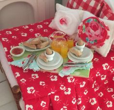 Cottage Breakfast in Bed Tray Scones Jam Eggs by RibbonwoodCottage