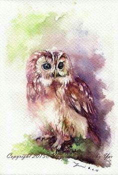 Owl Owl Watercolor, Watercolor Projects, Watercolor Techniques, Watercolor Paintings, Owl Paintings, Owl Art, Bird Art, Cute Owl Tattoo, Paper Owls