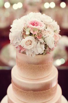 Blush cake with rose gold glitter: http://www.stylemepretty.com/texas-weddings/dallas/2013/12/16/joule-hotel-wedding/   Photography: Sarah Kate - http://sarahkatephoto.com/