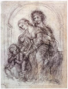 Page: Study for St. Anne Artist: Leonardo da Vinci Completion Date: c.1501 Place of Creation: Italy Style: High Renaissance Genre: sketch and study Technique: pencil Material: paper Dimensions: 21.8 x 16.4 cm Gallery: Private Collection