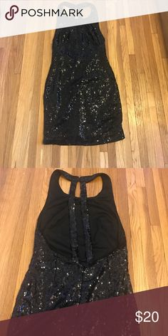 Foreign Exchange dress sz Medium Beautiful Foreign Exchange black  sequin dress in perfect condition. Size is medium has low cut split back Foreign Exchange Dresses Mini