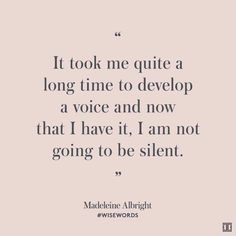 I am not going to be silent
