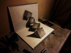 Ilustraciones en 3D con lapiz y papel