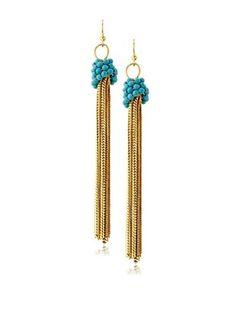 54% OFF Helene Turquoise Tassel Earrings