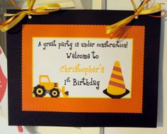 Construction Birthday Door Sign, construction Birthday Banner