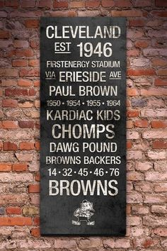 "Cleveland Browns Vintage Subway Art - 40"" x 16"" by Fan Favorite Football Art on @HauteLook"
