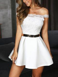 Off Shoulder Lace Splicing Pleated Dress Pretty Dresses, Sexy Dresses, Short Dresses, Fashion Dresses, Fashion Clothes, Trend Fashion, Womens Fashion, Cheap Fashion, Fall Fashion