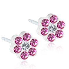 Hypoallergenic Stud earrings, 5mm Daisy Rose/Crystal  Swarovski Crystals Medical Plastic, (0% Nickel), By Blomdahl