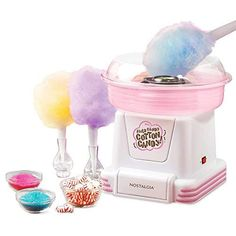 Nostalgia Retro Hard and Sugar Free Candy Countertop Cotton Candy Maker, Includes 2 Reusable Cones And Sugar Scoop, White/Pink Cool Kitchen Gadgets, Cool Gadgets, Cool Kitchens, Cotton Candy Cone, Cotton Candy Party, Sugar Free Candy, Snow Cones, Party Kit, Gadget Gifts