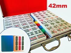 "PROFESSIONAL MAHJONG SET- This Chinese mahjong set is designed with the professional mahjong player in mind. One tile measures at 1.65"" x 1.2"" x 0.85"" (42mm x 31mm x 21.5mm). This set includes 146 tiles, 4 dice, 40 chips, packaged in an aluminum case. * DURABLE TILES- Tiles are made with scratch resistant melamine and are fully engraved for long lasting durability. These tiles are what the pros use. The markings are clear, and the tile size is slightly larger to make them easier to handle…"