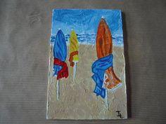 Les parasols de Deauville (Acrylique sur bois)