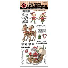 Sleigh Bells ring, are you crafting? You'll want to be when you see the fun designs by Bonnie Krebs on this Clear Photopolymer Stamp Set from the Christmas Indoor Christmas Decorations, Outdoor Christmas, Christmas Ornaments, Christmas Ring, Christmas Stickers, Christmas Stuff, White Christmas, Merry Christmas, Art Impressions Stamps