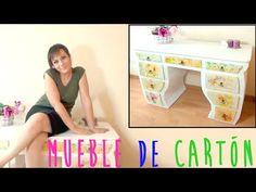 Como hacer un mueble tocador de cartón decorado con decoupage, manualidades baratas y recicladas - YouTube