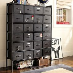 The Rockwell Metal Chest of Drawers boasts a vintage industrial flair and features 24 metal drawers. The drawers have a crackle finish that makes them look lived-in. Industrial Drawers, Metal Drawers, Industrial Furniture, Chest Of Drawers, Industrial Style, Industrial Design, Vintage Industrial, Industrial Office, Small Drawers
