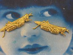 Natural Raw Brass Cricket  Grasshopper by dimestoreemporium, $1.75