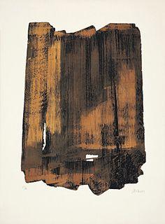 "Pierre Soulages (Born 1919 Rodez) ""Eau-forte XVI"" Farbaquatintaradierung 1961 75.8 x 56.5 cm Pr. 59 x 42.5 cm"