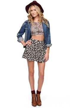 LA Hearts High Rise Gray Floral Skater Skirt #pacsun love the skirt! The outfit not to much
