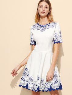 Weißes Blumenkleid, Weiße Skater Kleider, Blumen Skaterkleid,  Blumenkleider, Weißer Kleid Sommer, 7893a53595