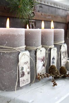 Gray candles with vintage tags!