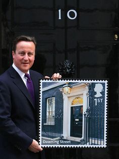 David Cameron with new Downing Street stamp