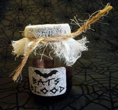"""""""Bats Blood"""" Halloween Labeled Potion/Lab/Witch Jar"""