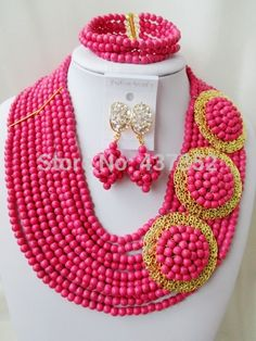 Find More Jewelry Sets Information about Splendid! Fuchsia Pink Turquoise 3 Brooches Costume Necklaces Nigerian Wedding African Beads Jewelry Set TC106,High Quality Jewelry Sets from Alisa's Jewelry DIY Store on Aliexpress.com Pink Turquoise, Turquoise Beads, Diy Store, Costume Necklaces, African Beads, Jewelry Sets, Brooches, Crochet Necklace, Wedding