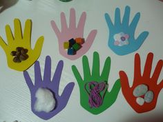 """Sensory week, """"Touch"""". Different feelings glued onto cut out construction paper hands. """"Feeling Hands"""""""