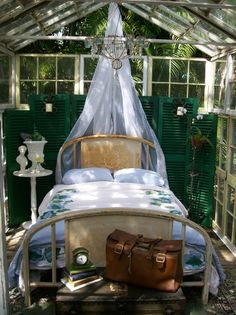 old iron bed with voile fabric canopy, shutters for backdrop, in a greenhouse style room