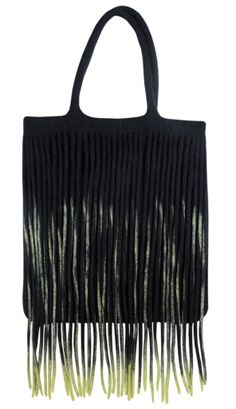 "Handmade felt bag. 100% wool. 35x40 cm. Felt threads (different colors: monotonous black/mixed with yellow or blue or violet) emphasize its stylish look. Fringe and weaving are favourite decoraive elements of the Kyrgyz women's costume. Variety of brushes would decorate houses also in unimaginable shades of waterfall. Products in ""Felt threads"" series were made by felting wool in hollow technique."