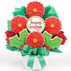 Poinsettia Christmas Cookie Bouquet