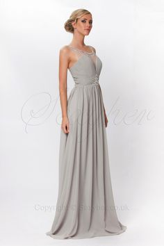 Luxury V-Neck Long Prom Evening Dress with Crystals