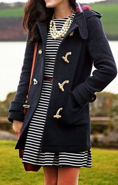 Charles Fort  #Little black and white Striped Dress #Navy Woolen Coat #Pearls Necklace