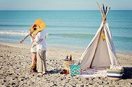 DENOUEMENT Event Rentals and Styling GALLERY beach teepee siesta key florida guitar bohemian boho