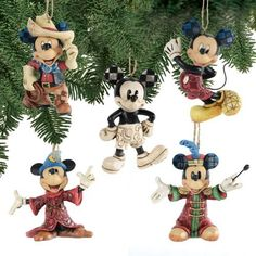 jim shore disney traditions mickey mouse through the years 5 ornament set Mickey Mouse Ornaments, Disney Christmas Ornaments, Peanuts Christmas, Mickey Mouse Christmas, Mickey Minnie Mouse, Christmas Art, Christmas Tree Decorations, Disney Decorations, Christmas Ideas